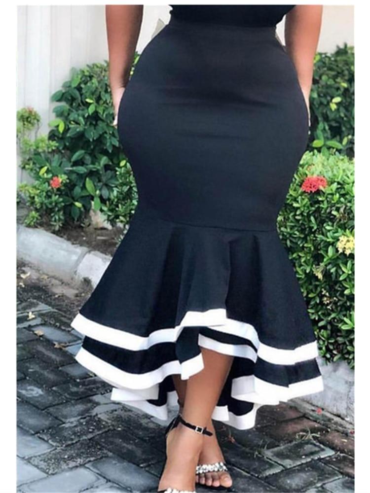 Women Bodycon Mermaid Skirt High Waist Slim Ruffles Black White Patchwork Package Hip Jupes Falads Elegant Femme Drop Shipping