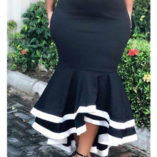 AOMEI Women Bodycon Mermaid Skirt High Waist Slim Ruffles Black White Patchwork