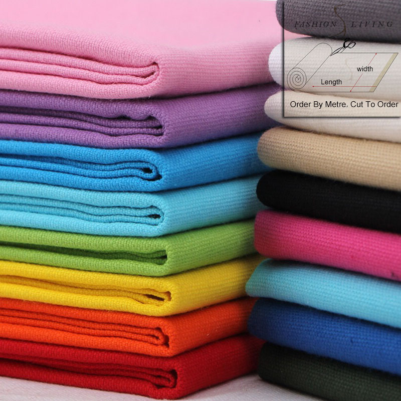 150cm Wide Heavy Duty Pure Cotton Duck Canvas Fabric Solid Color Home Decorative Fashion Bag Craft Blue Green Purple Black Cloth