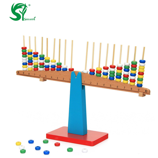 Wood Montessori toys for children Arithmetic Number balance Learning ...
