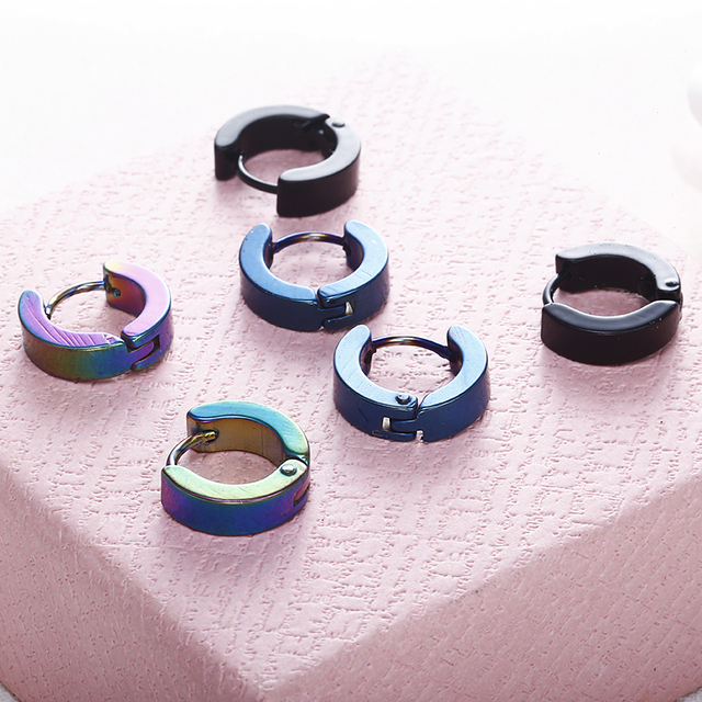 E0213 New Black Blue Small Cool Hoop Earring For Women and Men 316L Stainless St