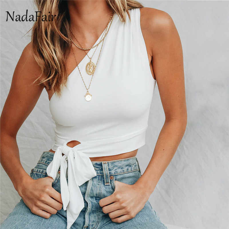 Nadafair Lace Up Una Spalla Top casual Bianco Rosso Nero Delle Donne di Estate Ritagliata Top Giallo Sexy Beach Party Club Carro Armato superiore Femminile
