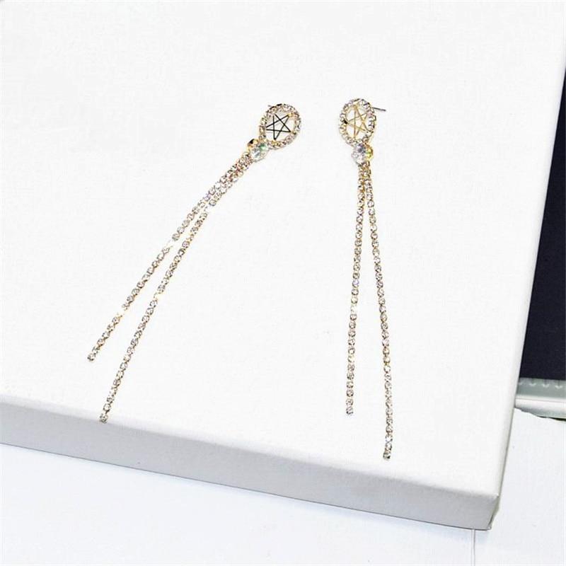 XIAO YOUNG Elegsnt Star Zircon Tassel Long Earrings For Women Bijoux Hollow Out Party Earring Gift Wholesale