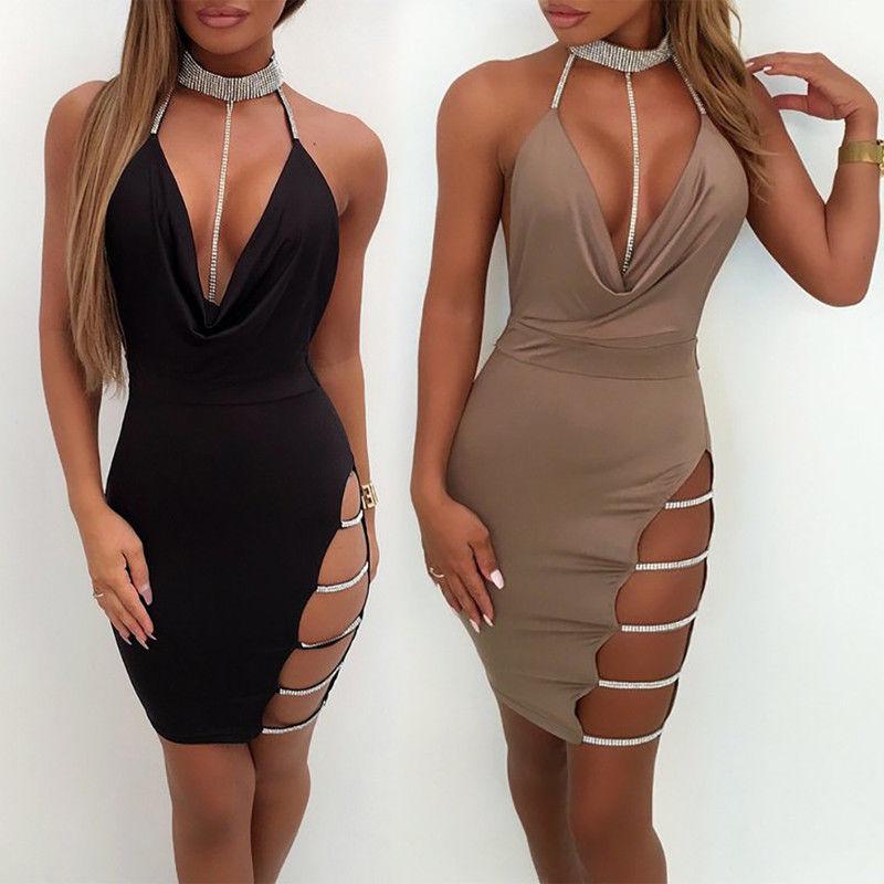 Для женщин Мини сексуальное платье с глубоким v-образным вырезом, без рукавов с низким вырезом на спине блестящие с лямкой на шее Hollow Вечерин...