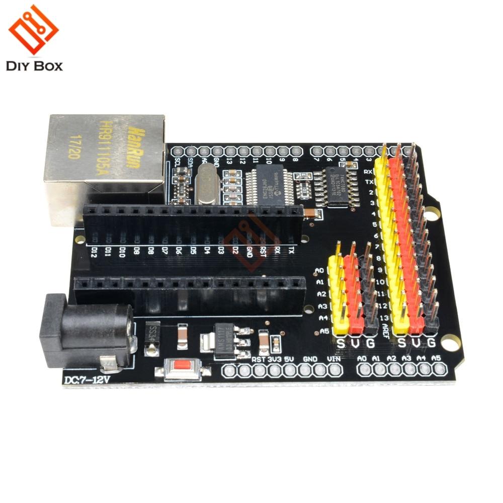 US $4 97 11% OFF|ENC28J60 Ethernet Shield V2 0 2 0 CH340G NANO V3 0 MEGA  Module Expansion Board For Duemilanove Leonardo For Arduino UNO R3 One-in