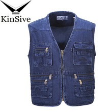 Denim Vest Men Cotton Sleeveless Jackets Blue Cotton Casual Vests Middle-aged Male with Many Pockets Plus Size 10XL Waistcoat