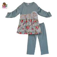 Fall Boutique Little Girls Clothes Kids Floral 2 Pcs Suit Top And Pant Baby Outfits Wholesale