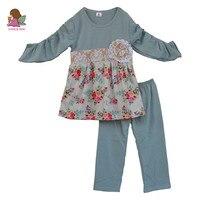 fall boutique little girls clothes kids floral 2 pcs suit top and pant baby outfits wholesale cotton children clothing sets F120