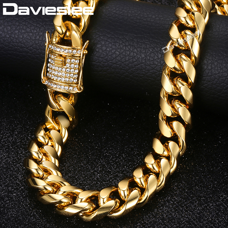 d99c399190390 Davieslee Miami Curb Cuban Link Chain Necklace For Men Iced Out CZ Gold  Necklaces Fashion Hip