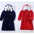 Дети мальчики девочки моды животных мультфильм медведь теплая зима фланель халат детей 2-8 лет пижамы пижамы домашняя одежда