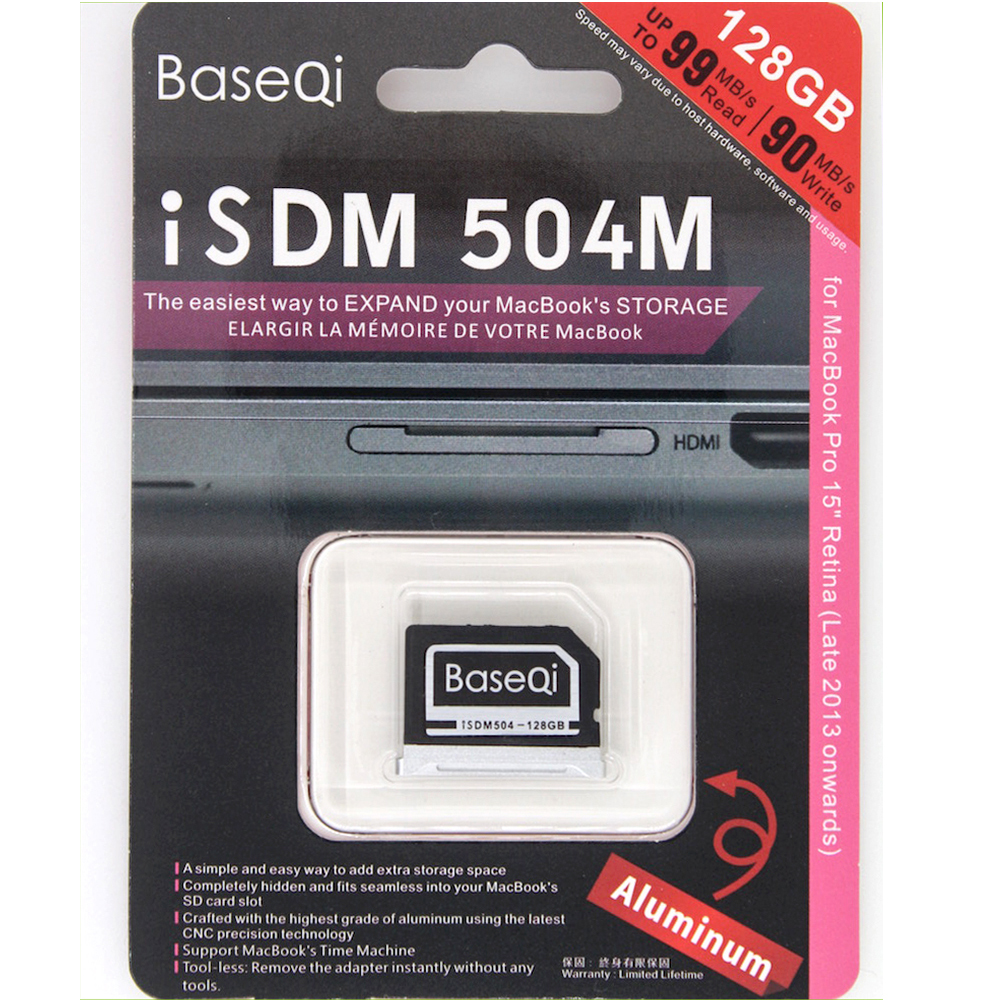 504M Original BASEQI Aluminum 128GB Memory Card for MacBook Pro 15 Retina Storage Expansion Card(Late 2013 onwards) transcend jetdrive lite 330 storage expansion memory sd card for macbook pro retina 13 64gb