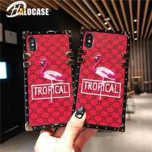 New Luxury 3D Embroidery Lattice Flamingos Phone Case For Samsung S8 S9 S10 Plus S10e Note 8 9 10 Pro Square Cover  Funda