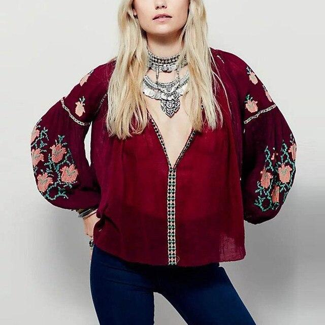 Vintage Цветочный Узор Вышивки Рубашки Этническая О-Образным Вырезом Поток Drawstring Кисточкой Femme Свободные Контрастного Цвета Блузка Топы 2 Цвета
