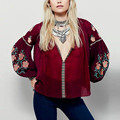Vintage Flower Pattern Embroidery Shirt Ethnic O-Neck Stream Drawstring Tassel Femme Loose Contrast Color Blouse Tops 2 Colors