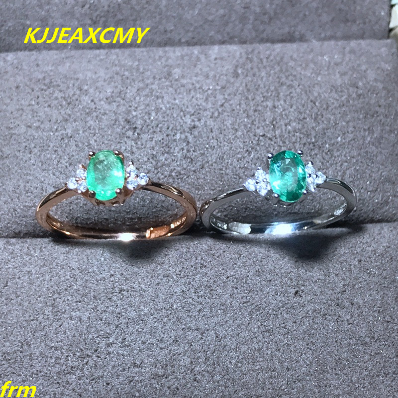 KJJEAXCMY Fine jewelry Natural emerald ring female RING 925 sterling silver inlay support any identification
