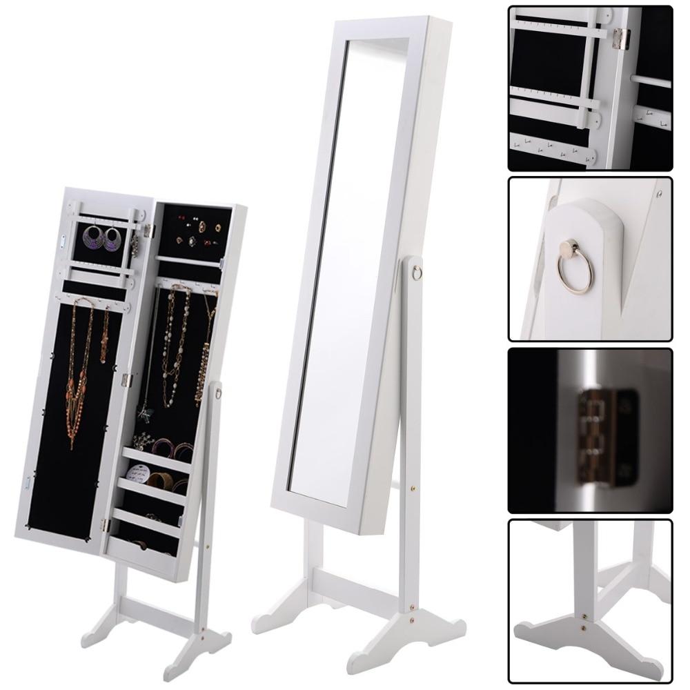 Armario De Espejo De Joyeria Espejo Joyero De Pie Para Joyas 33x37x142cm,blanco