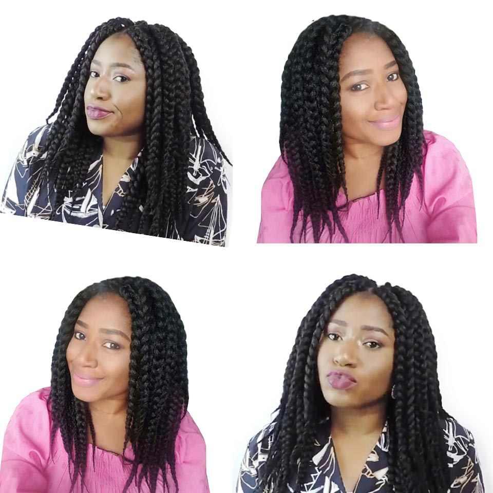 Xtrend плетение парик косы волосы 14 дюймов 12 корней синтетические плетеные волокна Наращивание волос черный бордовый термостойкие