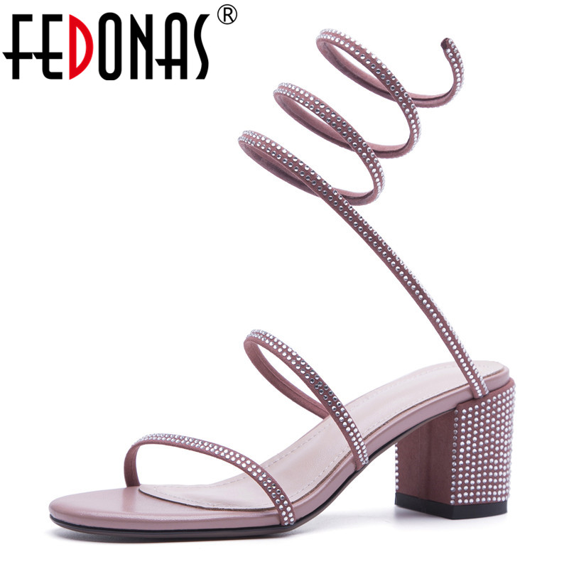 FEDONAS Women Sandals Summer New Glitters Buckles Wedding Party Prom Shoes Woman Fashion Sandals Women New High Heeled Shoes