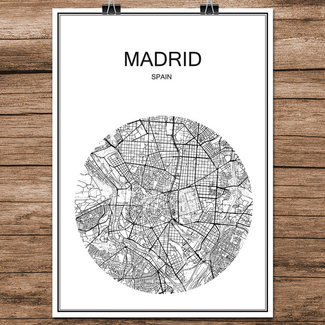 Abstract World City Street Map MADRID Spain Print Poster Coated Paper Cafe Bar Living Room Home