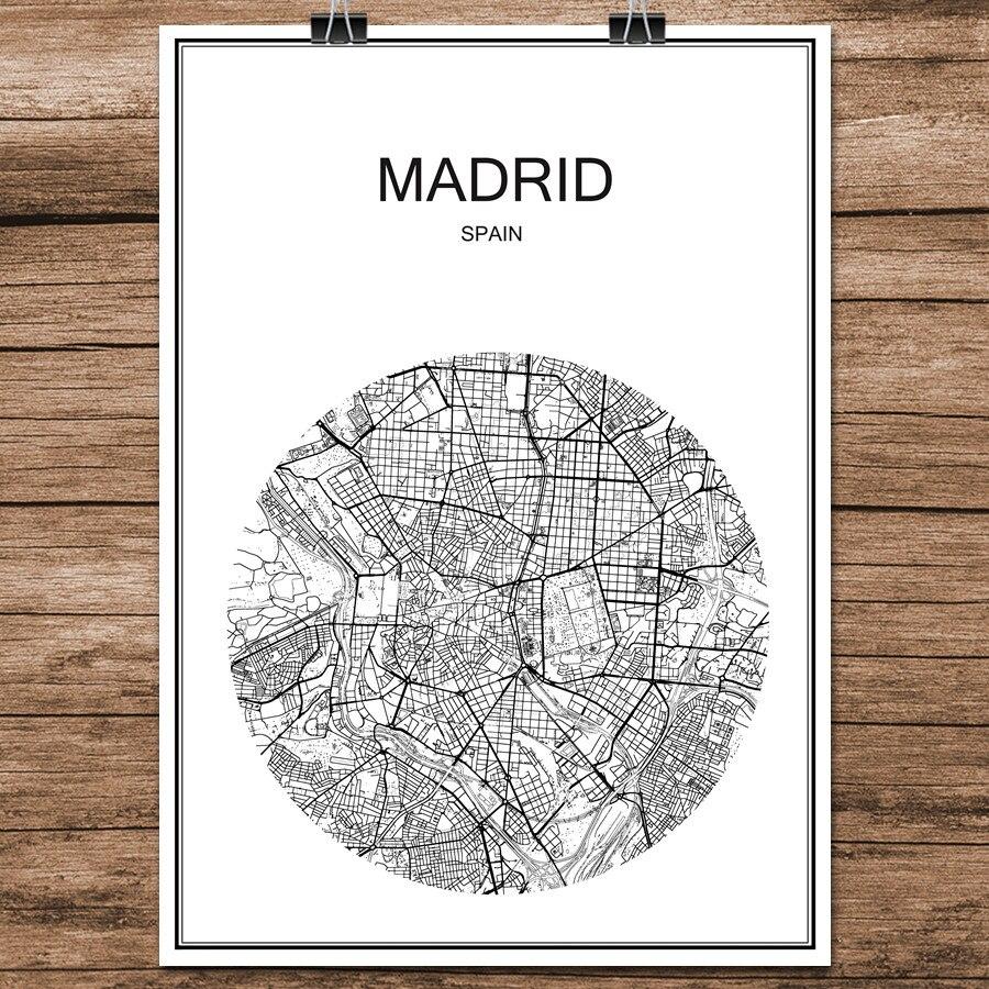 US $1.99  Strada di Città del Mondo Mappa MADRID Spagna Stampa astratta  Poster Carta Patinata Cafe Bar Soggiorno Decorazione Della Casa Wall  Sticker ...