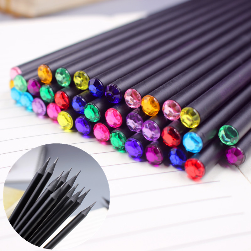 12Pcs/Set DIY Pencil Hb Diamond Color Pencil Stationery Items Drawing Supplies Cute Pencils For School Basswood Office School 12pcs candy color cute pencil hb 2b school stationery store student kids triangle graphite drawing sketch wood pen office supply