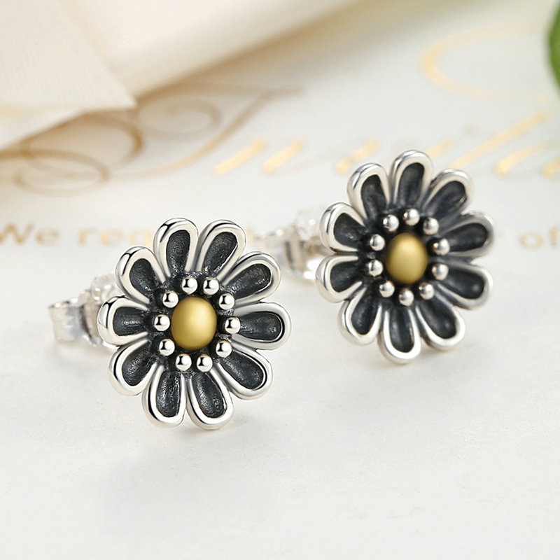 2017 Luxury Authentic 925 Sterling Silver Retro Sunflower Stud Earrings For Women Compatible with pan jewelery Earring