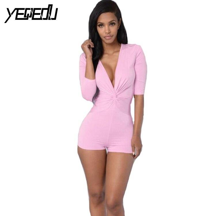 #1508 Zomer Sexy Speelpakjes En Jumpsuits Mode Skinny Effen Kleur Roze/zwart Top Combinaison Korte Femme V-hals Skinny Aromatisch Karakter En Aangename Smaak