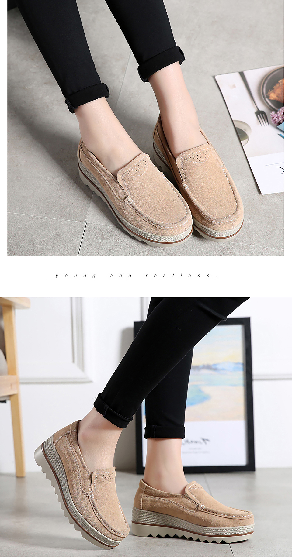 HTB1hGdQOXzqK1RjSZFoq6zfcXXaA 2019 Spring Women Flats Shoes Platform Sneakers Slip On Flats Leather Suede Ladies Loafers Moccasins Casual Shoes Women Creepers