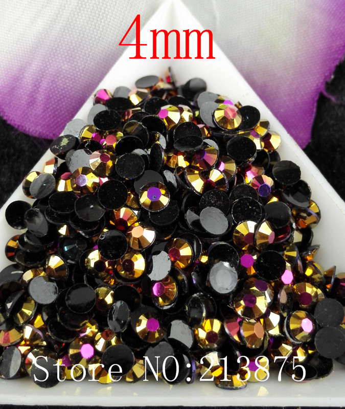 Free shipping 5000pcs Gold Rose Magic color AB jelly 4mm resin rhinestones  Nail Art applique strass Non hot fix SS16 4b3c3185f898