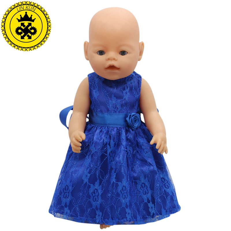 15 Colors Princess Dress Doll Clothes fit 43cm Baby Born Zapf Doll Clothes and Accessories D-20 baby born doll clothes pink retro princess dress fit 43cm baby born zapf or 17inch doll accessories high quality love 182