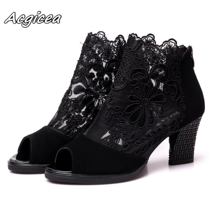 Tacón Europa Tacones Sexy Zapatos 2018 Mujer De Black Malla Cuadrado América Wine Sandalias Moda red Primavera Gasa Verano Altos RrqR5F7