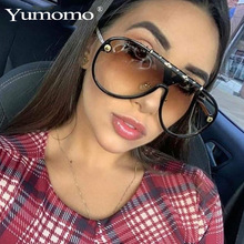 YUMOMO Vintage Retro Punk Sunglasses Women Black Blue Unique Oval Round Goggle Shades Men UV400