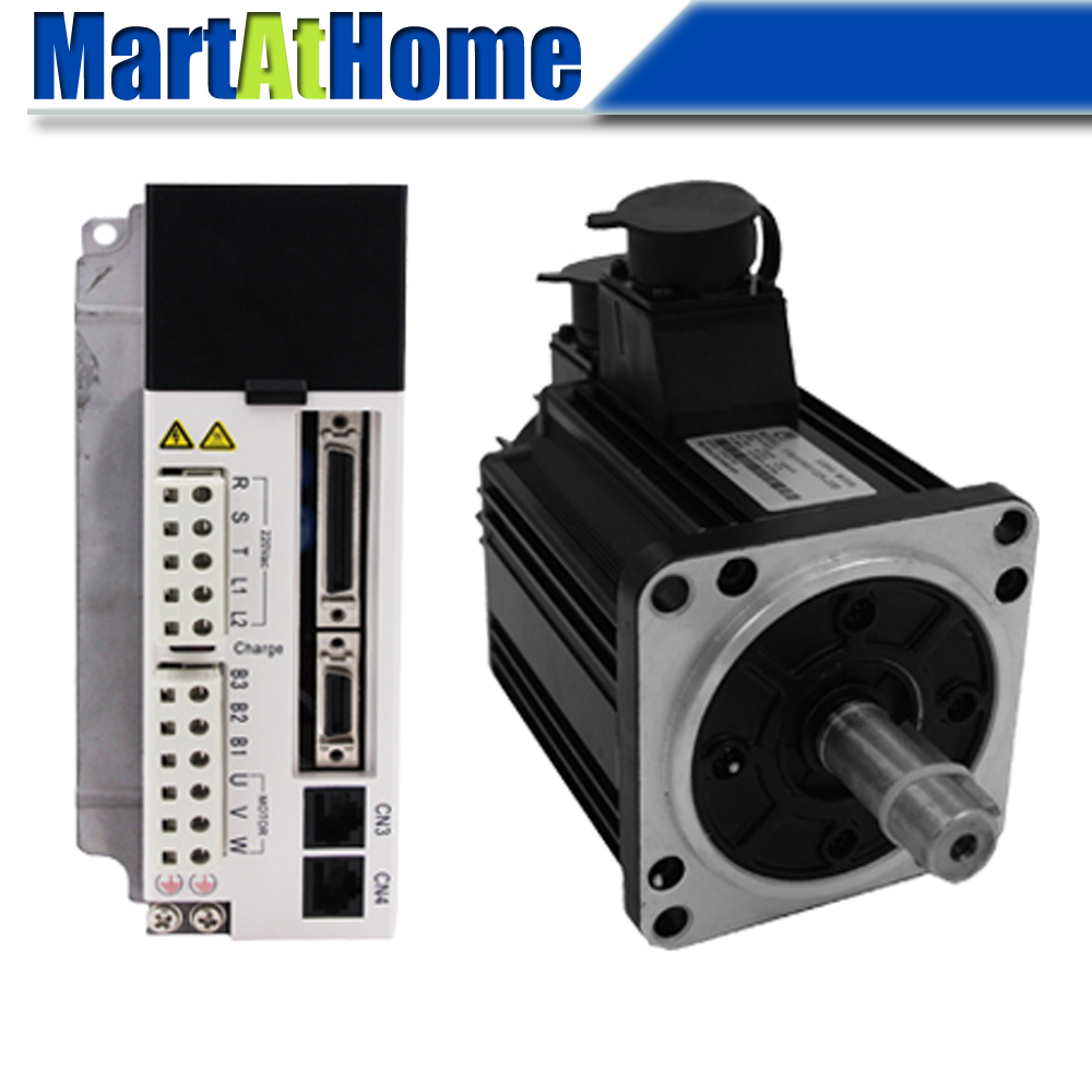 1000W CNC Servo Motor Driver Kit 220V AC Servo Driver JASD10002 20B & 1KW 3.18N.m AC Servo Motor with Encoder