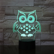 Animal OWL Bird 3d Lamp In The Tree RGB 7 Color Change Night Light Baby Sleep Lamp Home Decor Boy Kid Christmas Gift Nightlight led night lights egg lamp christmas decor rgb color change home bar furniture set d14 h19cm free shipping 20pcs lot