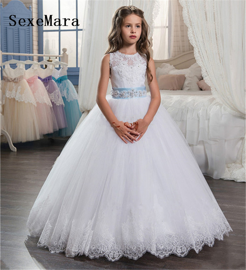 White Lace Fluffy Flower Girl Dresses for Wedding Ball Gown Girl Pageant Party Dress Little Princess Communion Gown Custom MadeWhite Lace Fluffy Flower Girl Dresses for Wedding Ball Gown Girl Pageant Party Dress Little Princess Communion Gown Custom Made