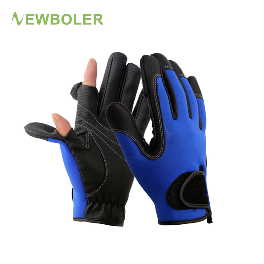 NEWBOLER Fishing Gloves Men Leather 1Pair/Lot 2 Half-Finger Palm Anti-Slip Waterproof Neoprene&PU Hunting Cycling Gloves 1 pair 3 half finger fishing gloves skidproof resistant half finger cycling fishing anti slip tool for fishing tackle boxes hot