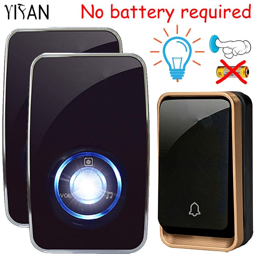 YIFAN NEW self powered Wireless doorbell no battery waterproof night light sensor smart Door Bell EU