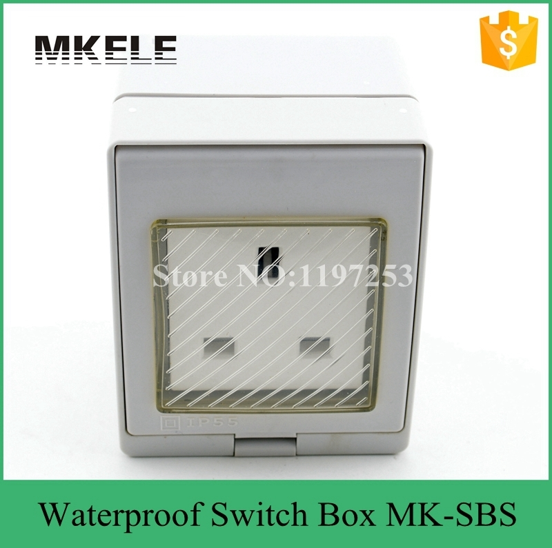 MK-SBS widely use fashion design British best sale waterproof plug and socket with 3 pin,outdoor socket switch box dense waterproof outdoor terminal box csb 104 four stone waterproof socket socket