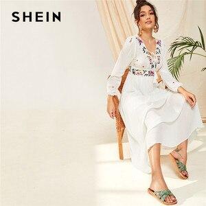 Image 2 - SHEIN Tassel Trim Floral Embroidered White Dress Boho V Neck Bishop Sleeve Maxi Dress Spring High Waist A Line Long Dresses