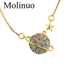 Molinuo New fashion Saturn Planet Charm jewelry set Paving Multicolor CZ Bracelet for Women girl Jewelry gift 2019