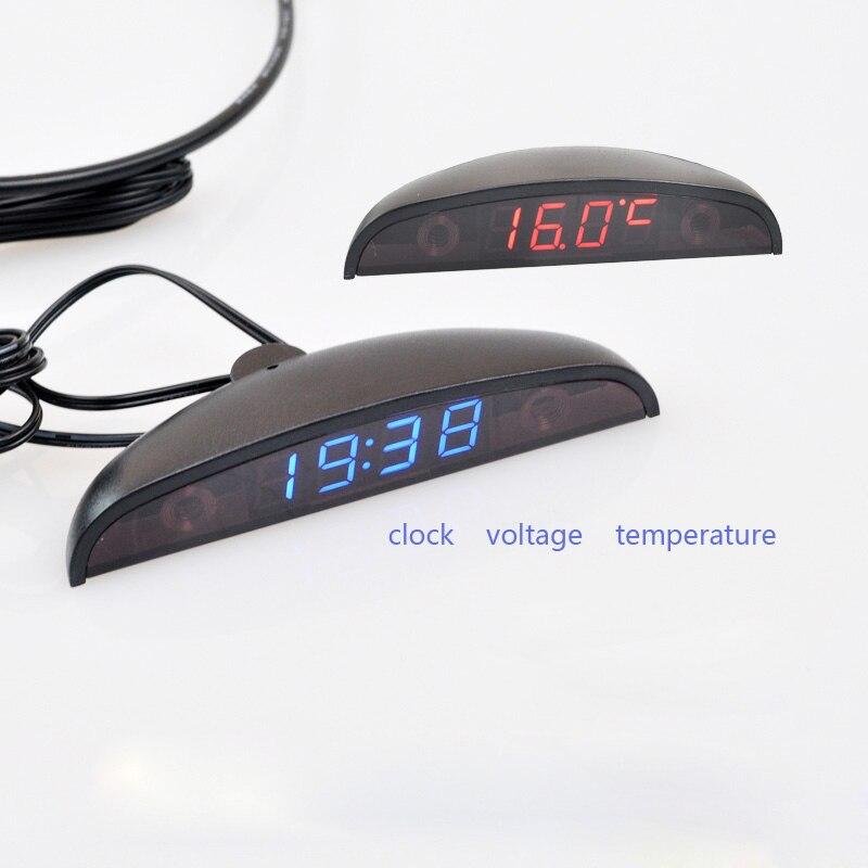 3 em 1 Car Auto Digital Termômetro Relógio Voltímetro Volt Monitor de Temperatura 12 V 24 V Ao Ar Livre Indoor Levou vermelho azul/DC8-30V