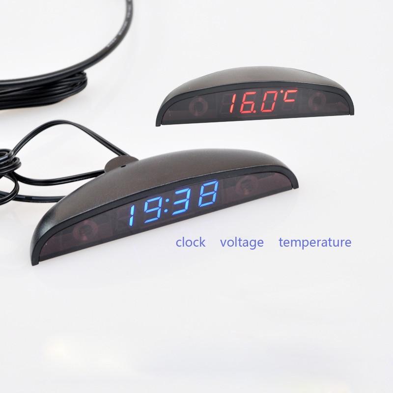 3 in 1 Auto Digital Auto Thermometer Voltmeter Uhr Volt Temperatur Monitor 12 V 24 V Outdoor Indoor Led rot/blau DC8-30V