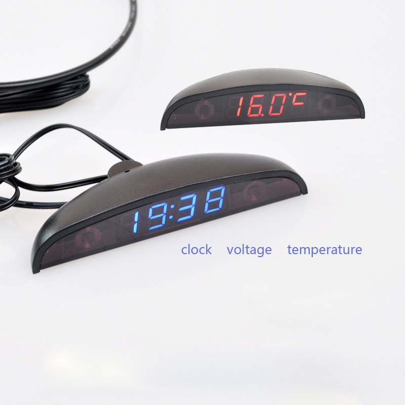 3 in 1 Car Digital Auto Thermometer Voltmeter Clock Volt Temperature Monitor 12V 24V Outdoor Indoor Led red/Blue DC8-30V new 3 in 1 digital led car voltmeter thermometer auto car usb charger 12v 24v temperature meter voltmeter