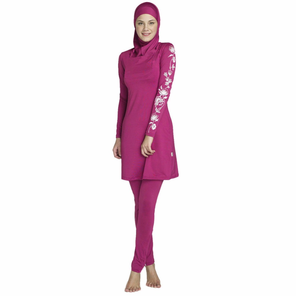 YONGSEN 2019 New Burkinis Muslim Swimsuit Modest Clothing Islamic 3 Pieces Separated Women Wear Long muslimah Swimwear Hijab in Muslim Swimwear from Sports Entertainment