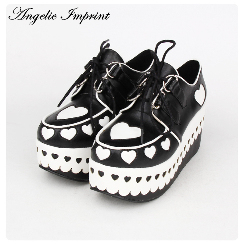 Lovely Sweetheart Platform Heels Lolita Princess Gothic Cosplay Japanese Harajuku Style Girls Shoes  8892 super lovely white rabbit ears lolita princess platform heels shoes comfortable round toe cos shoes