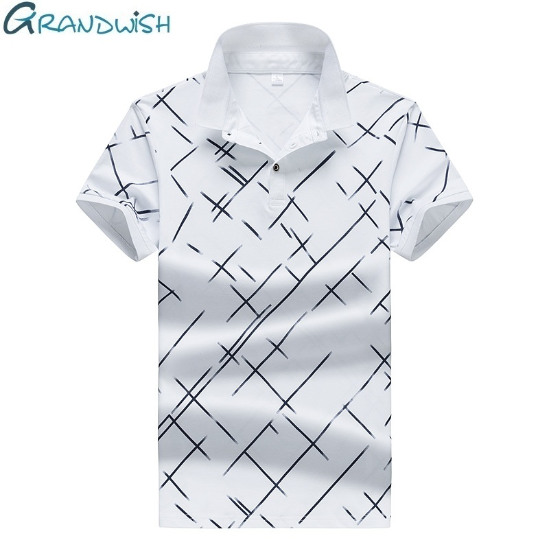 Grandwish 2018 New Summer Polo Hommes Diagonal Stripes Printing Polo