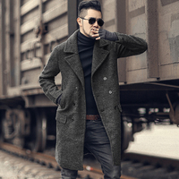 2018 Men new winter woolen double breasted coat metrosexual man long coat European style warm slim fashion jacket casual brand