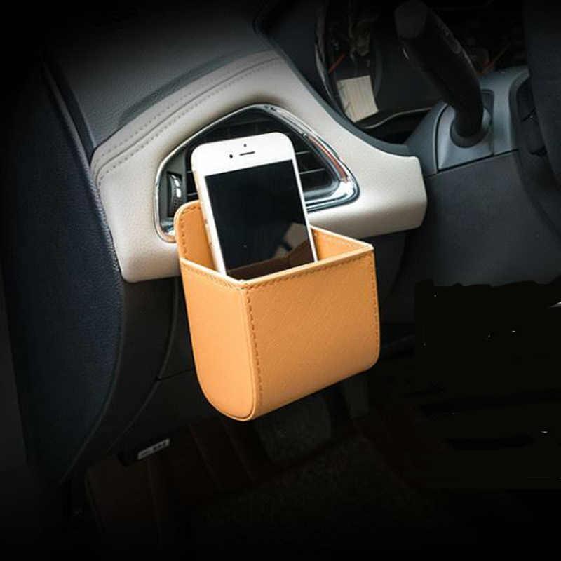 Couro PU aberturas de tomada de carro lata de lixo saco de assento saco de armazenamento do telefone do carro para Mercedes-Benz A B C E S G M ML GL GLK CL CLK CLS e R S