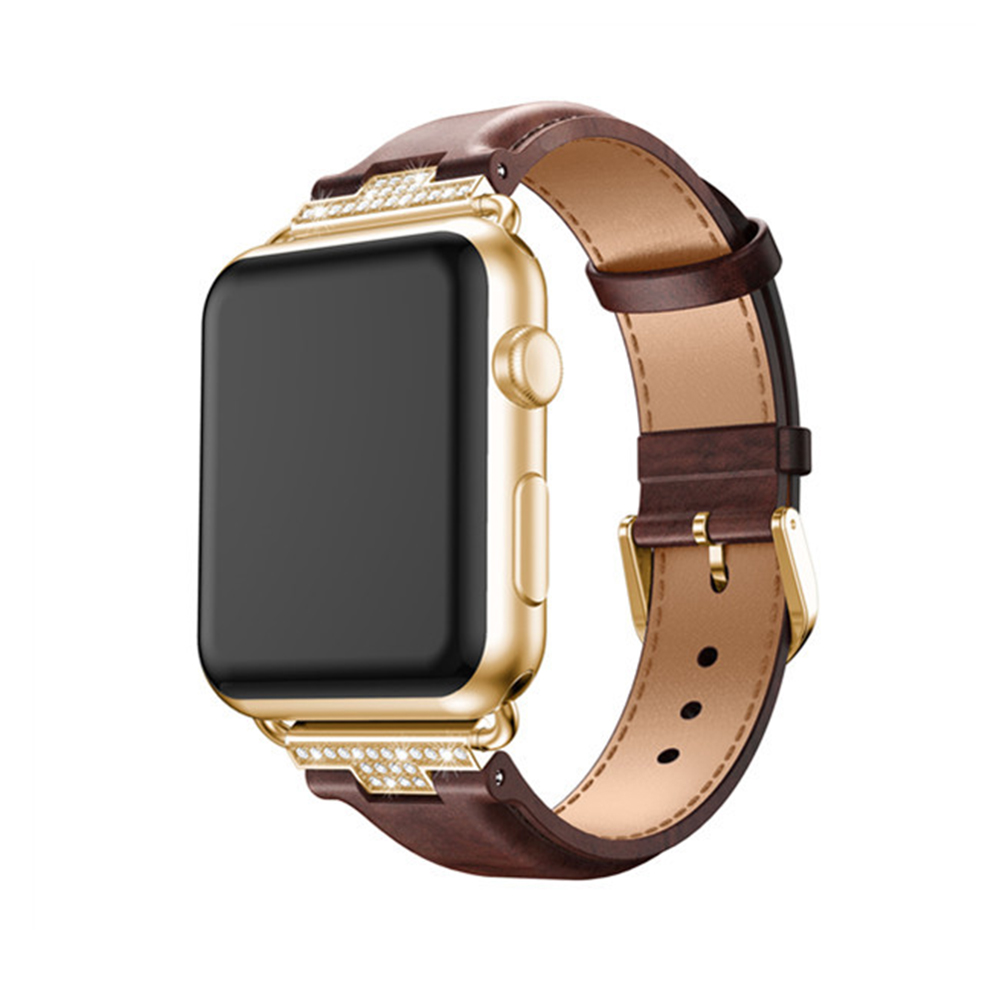 2017 Luxury Genuine Leather Watchband for Apple Watch Leather Band Gold 38mm 42mm Series1 2 3 Strap for Iwatch Band Belt Leather kakapi crocodile skin genuine leather watchband with connector for apple watch 38mm series 2 series 1 pink