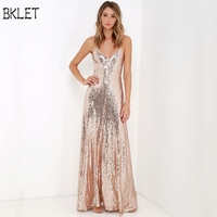 Rose Gold Sequin Party Maxi Dress Sexy Backless Slip Long Summer Dresses Women Empire Elegant A